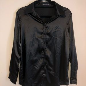 PrettyLittleThing Black Silk Button Up